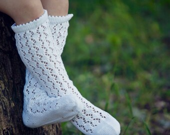 Knee high socks Lace socks Leg warmers in bright white Girls boot socks