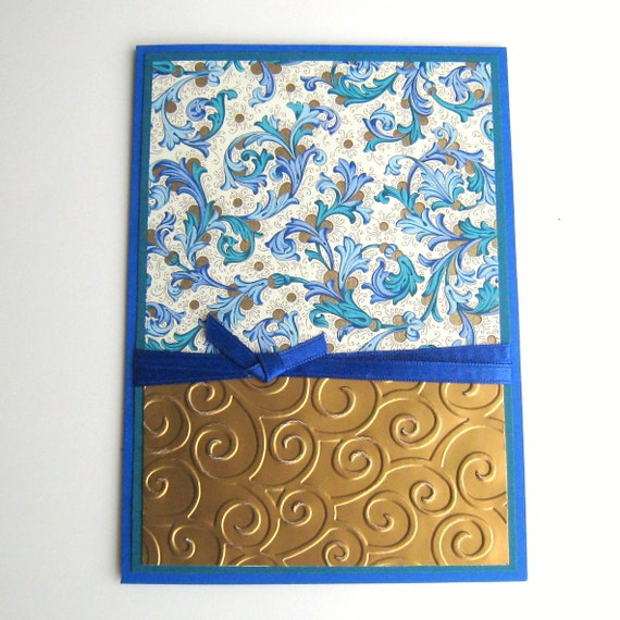 Birthday Card or Any Occasion Card Blue Teal and Gold Blank Inside- You Choose Sentiment on Front