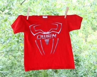 Personalized Steel Spider Superhero Centered Name Shirt - short sleeve