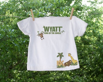 King of the Jungle Birthday Shirt with Name and Number Personalization // 2-sided