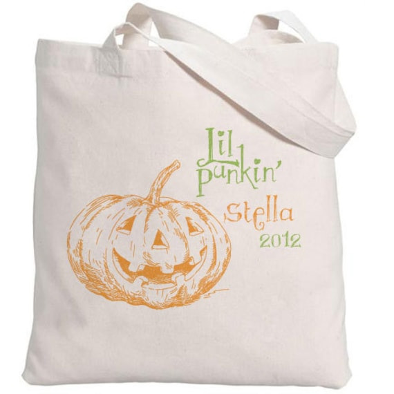 Halloween Tote // Little Punkin Tote with Personalization