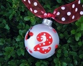 Birthday Ladybug Ornament - Free Personalizing - Hand Painted Christmas Ornament, glass Bauble, Second Birthday, Ladybug Birthday Party