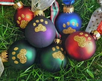Glitter Pet Ornaments - 15 Glitter Paw Prints on Dark Blue Ornaments, Pet Lover, Christmas Baubles, Pet Christmas, School Symbol, Dog Bauble
