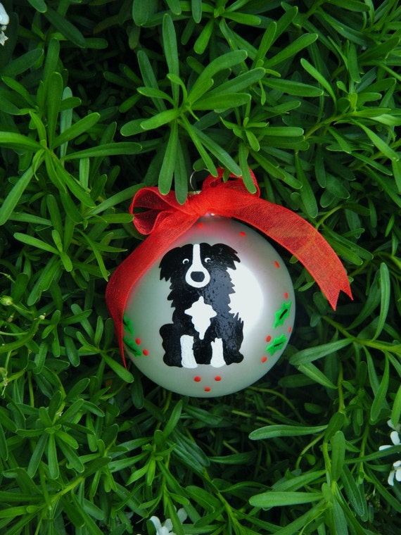 Border Collie Dog Ornament, Personalized Pet Handpainted Christmas Ornament, Dog Lover Pet Lover, Dog Trainer, Dog Groomer, Vet Appreciation
