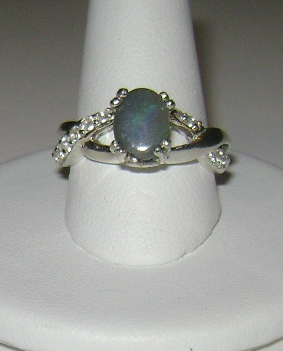 Natural 0.51ct Australian Black Opal Ring Sterling Silver .925 Size 7