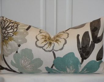 Decorative Pillow Cover - Throw Pillow - Accent Pillow - Teal - Aqua Green - Brown - Tan - Lumbar - Bed Pillow