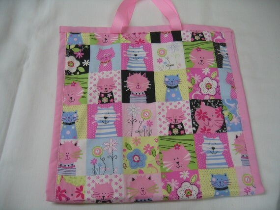50% OFF Cute Kitty Toy Tote with 2 large pockets for carrying toys in a colorful print