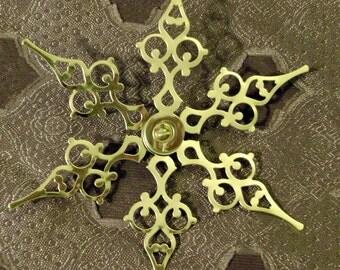 GOLD Medium Snow Crystal- Steampunk Clock Hand Holiday Ornament