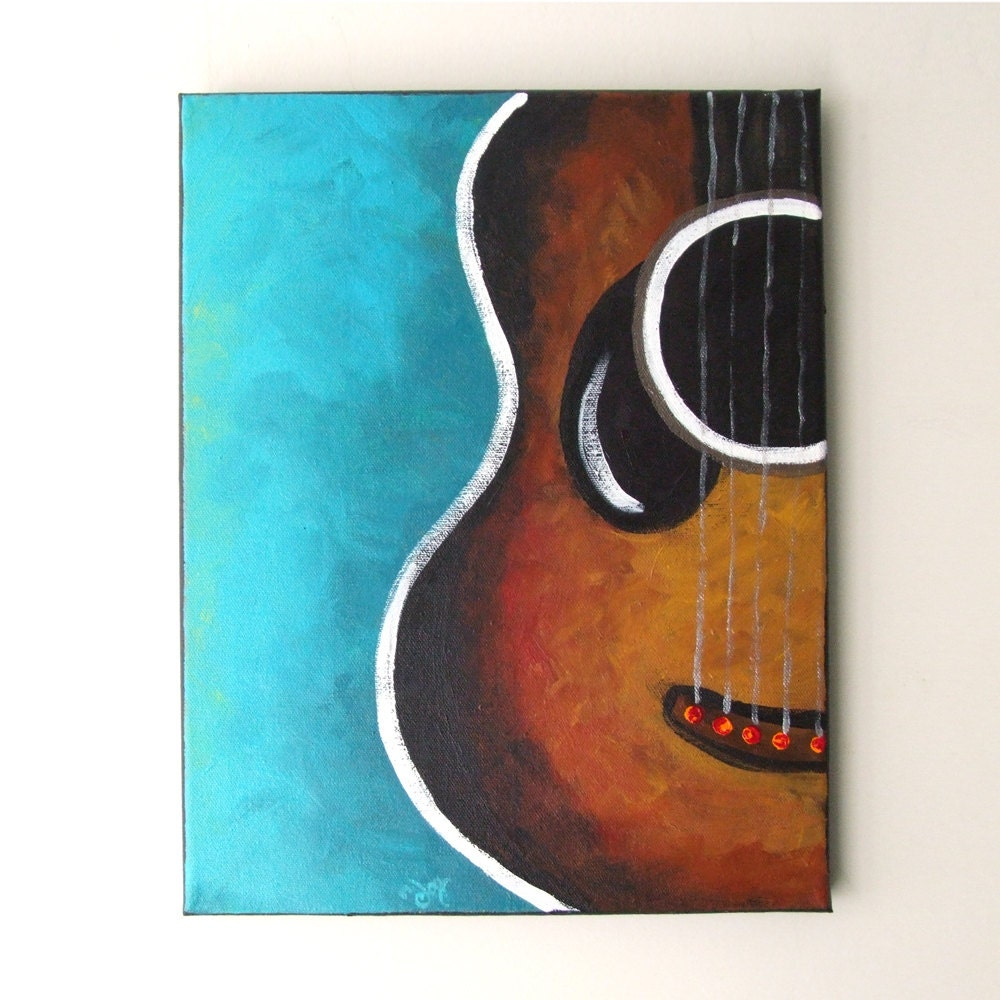 SMILING GUITAR Original Canvas Painting 11x14 acrylic by ...