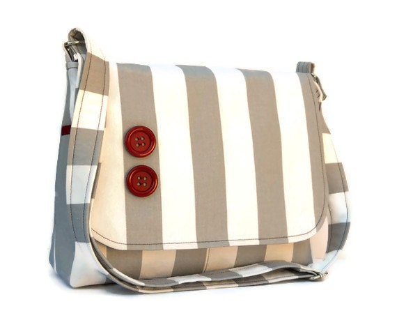 Women's Messenger Bag Purse - Grey and White Stripe with Maroon