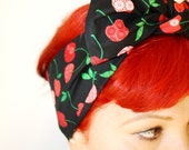 Bow style, Vintage Inspired Head Scarf, Black with Cherries, Retro, Rockabilly