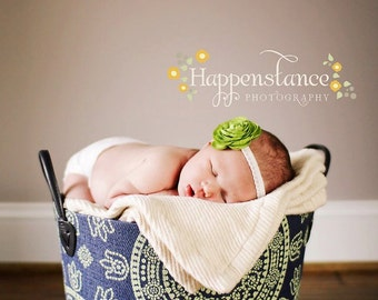 Apple Green Ranunculus Flower Headband For Newborn Baby, Infants, Toddlers, and Adult