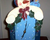 Handmade and Hand Painted Snowman Mantel Clock    NEW
