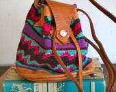 vintage woven bag - SOUTHWESTERN drawstring mini bag