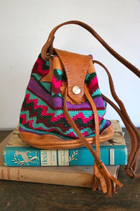vintage woven bag - SOUTHWESTERN drawstring mini bag