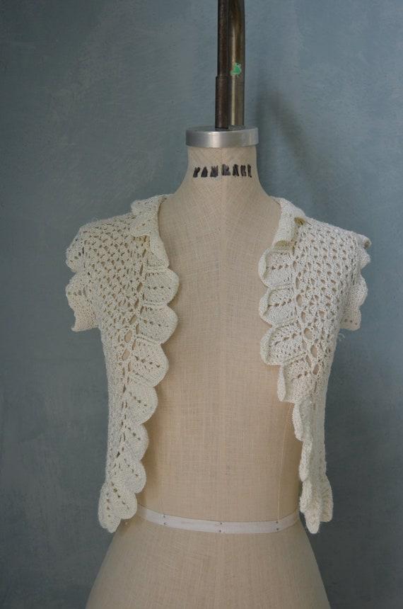 70s Bohemian Cream Knit Bolero Shrug Sleeveless Sweater S
