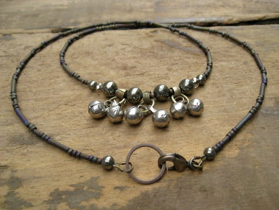 Tribal Necklace with Bells, rustic bell necklace, attracts positive energy, perfect for tribal belly dance