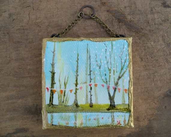 Miniature Landscape Painting, original tiny whimsical landscape painting with trees, water, bunting, and a gold frame