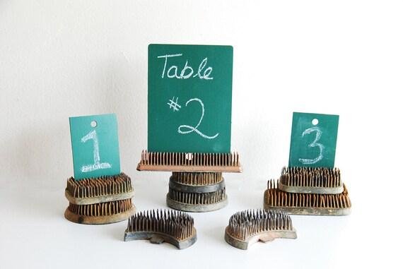 Set of 9 Vintage Metal Flower Frogs - Repurposed Industrial Display - Wedding Table Number Holder