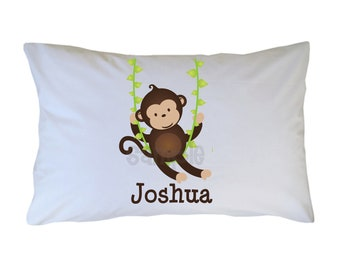 Monkey Pillow Case, Boy, Girl, Personalized Pillow Cases for Kids