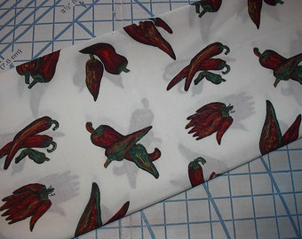 """Hot Peppers Cotton Fabric 1 1/2 yard X 44""""/45"""""""