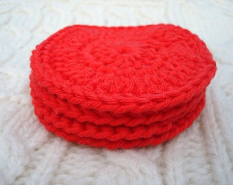 Facial Scrubby Pads Exfoliation Pads Red Cotton  set of four