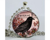 Blackbird Necklace with Chain Art Pendant Resin Pendant Altered Art Pendant