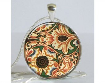 Racinet Ornamental Paper Silver Plated Necklace with Chain Resin Pendant Picture Pendant Art Pendant Photo Pendant
