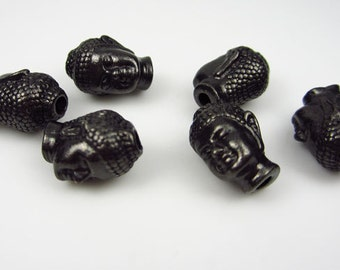 20 Black Oxide Tierracast Buddha Head Beads