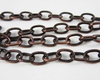 TierraCast 9x6 Antique Copper Plated Embossed Cable Chain (1 foot)
