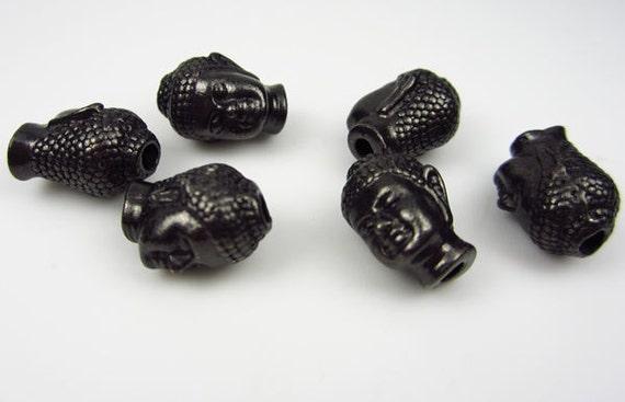 6 Black Oxide Tierracast Buddha Head Beads
