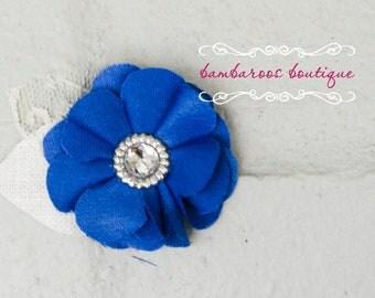 Flower Hair clips, alligator clips, vintage hair clips, blue