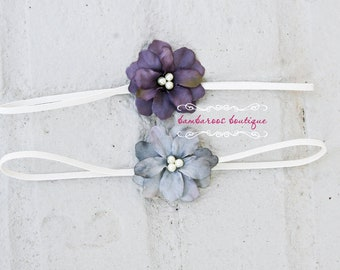 plum purple baby headband, newborn headband, small flower headband, blue gray head band