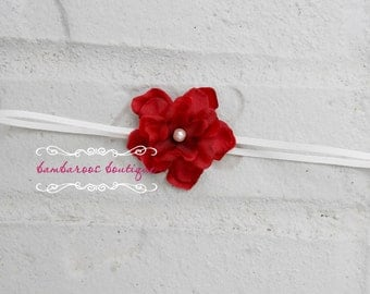 Small Red Flower Headband, Newborn Headband, Baby Headband