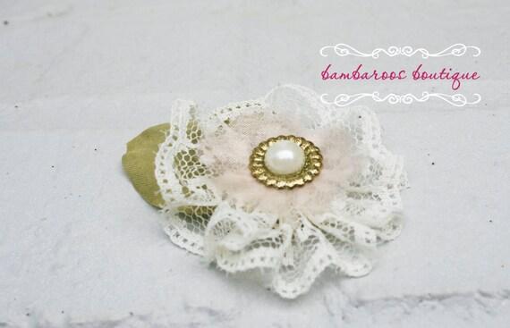 Hair clip, vintage hair clip, flower girl hair accessories, lace
