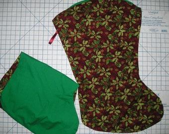 Poinsettia/Holly Print Large Christmas Stocking