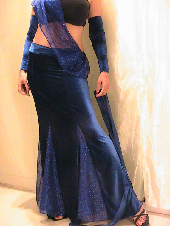 Bellydance skirt set , Bedlah , Trumpet skirt in Royal Blue Velvet and dot metallic chiffon - MED