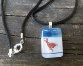 Hopping and Running Deer: Fused Glass Pendant in Blue and White