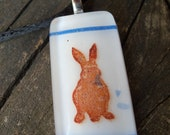 Blue and White Bunny Sitting Nice: Fused Glass Pendant
