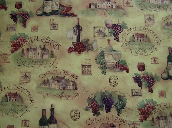 Wine Bottle Vinyard Fabric 100 Cotton 1 Yard Susan Winget