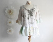 Shabby Chic Tunic Top Women's Beige Shirt Upcycled Clothing Eco Friendly Clothes Green Cream Tattered Large 'GRETCHEN'