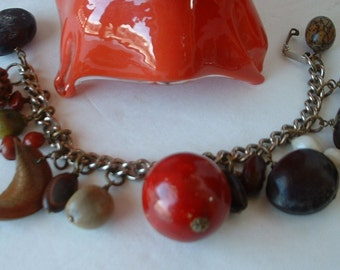 Vintage Seed Pod Bracelet 1940 Seed Charm Bracelet Original