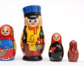 Family Babushka Nesting dolls matryoshka dolls set of 5 free shipping