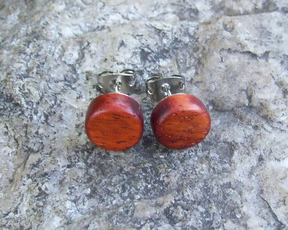 "Reclaimed Exotic Wood Wooden Stud/Post Earrings - 3/8"" - 127"