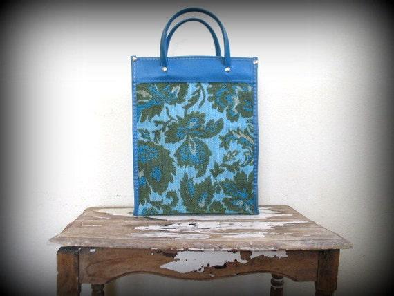 vintage 1970s tapestry market bag / BLUE GREEN ALGAE