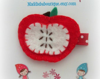 Red Apple felt clippie- Autumn hair accessory gift   by Maddie Bs Boutique on Etsy
