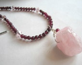 Red Garnet Necklace Rose Quartz Necklace Pink Pendant Crystals and Sterling Silver - Breathless