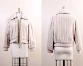 40% SALE 70s jacket / faux fur jacket / vintage bomber jacket / medium M 1970s