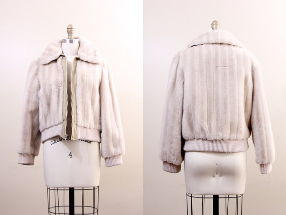 40% SALE 70s jacket / faux fur jacket / vintage bomber jacket / medium M 1970s