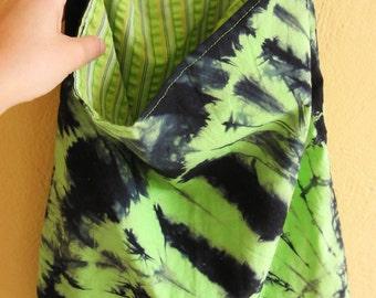 Green and dark blue BATIK Tote BAG / Satchel